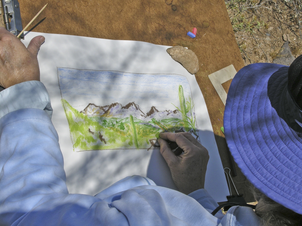 Drawing with pastels on the Desert Lab grounds