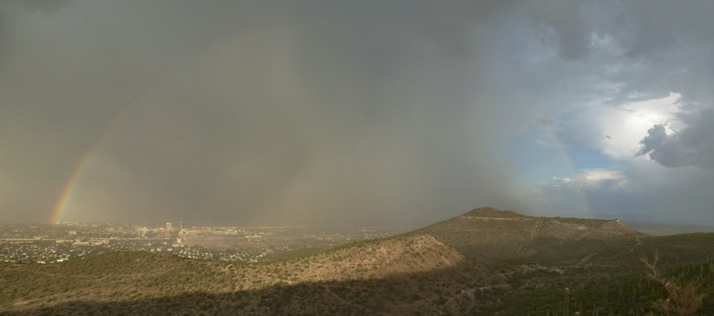 Rainbow, dust storm and monsoon hitting downtown Tucson.