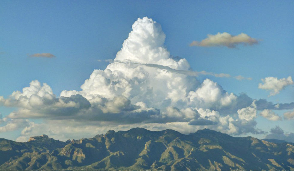 Clouds building over the Catalina Mountains, viewed from Tumamoc. Notice the green tint of the mountains.