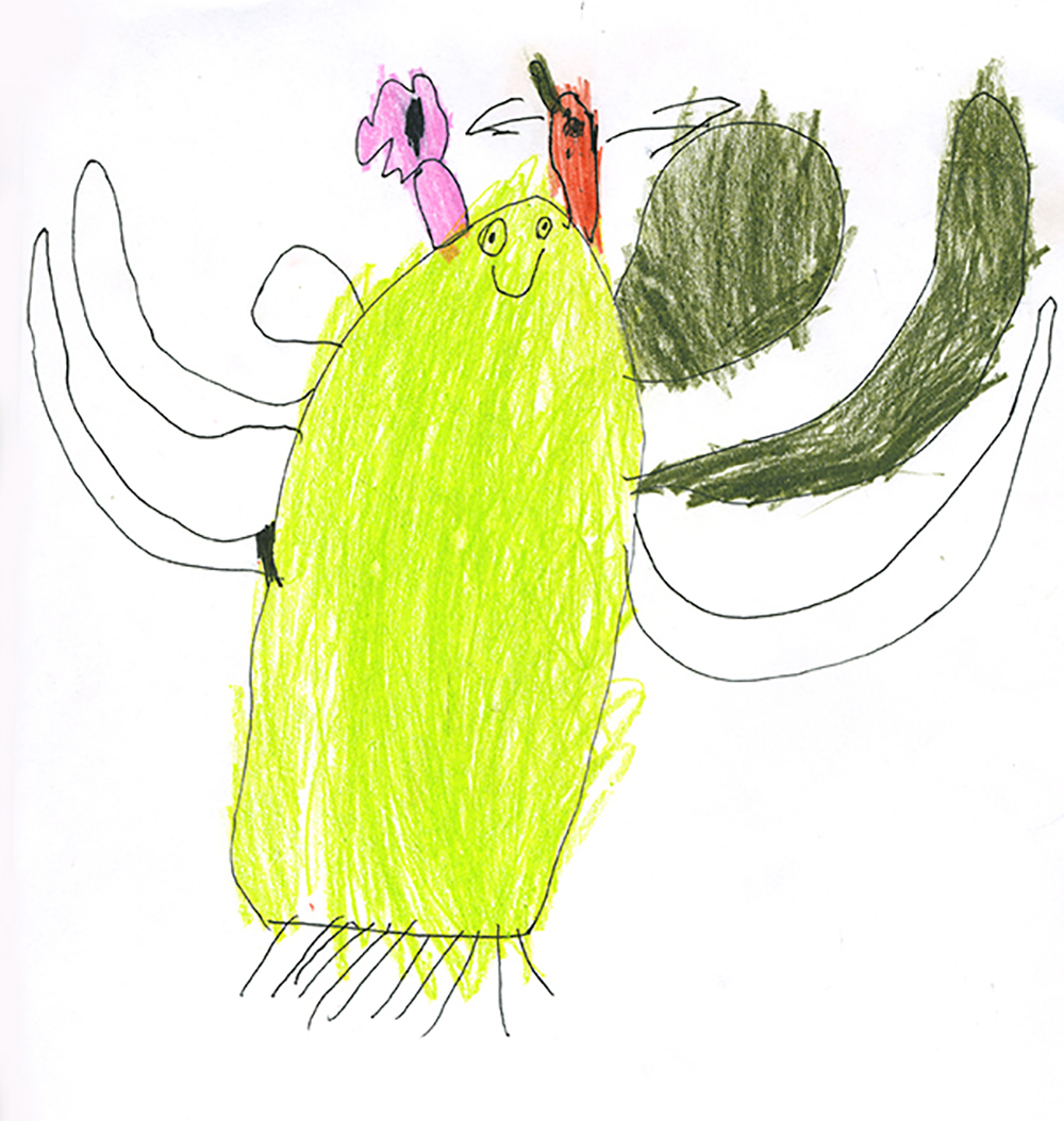 saguaro drawing by Leo Mirocha
