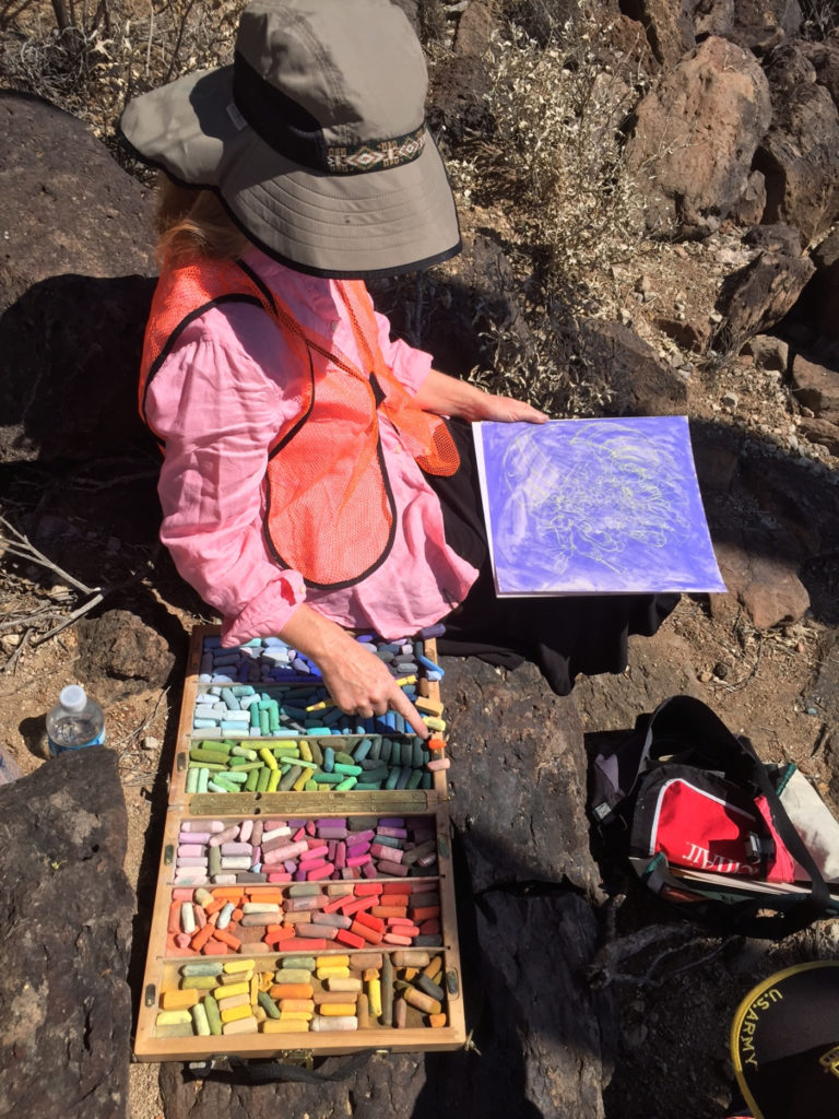 Meredith painting with pastels on Tumamoc Hill