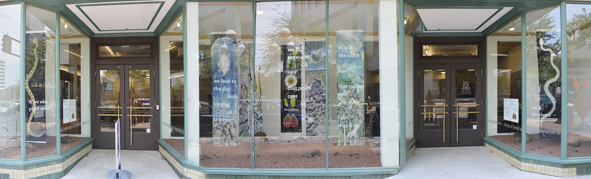Mosaic of installation in UA Downtown store front.