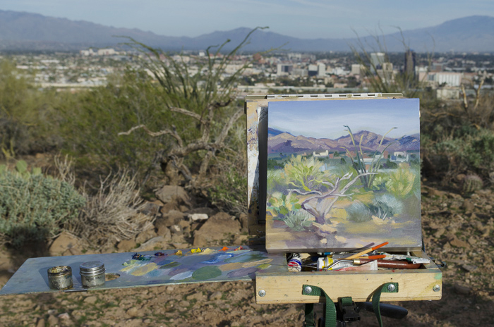 Gay Scheibel's oil painting looking out over the Tucson valley.
