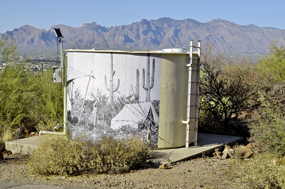 wheat-paste mural on tumamoc water tank