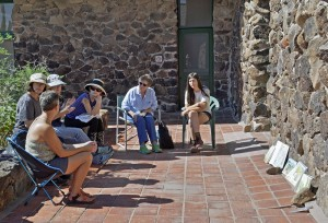 Tumamoc artists meet on the Desert Lab patio