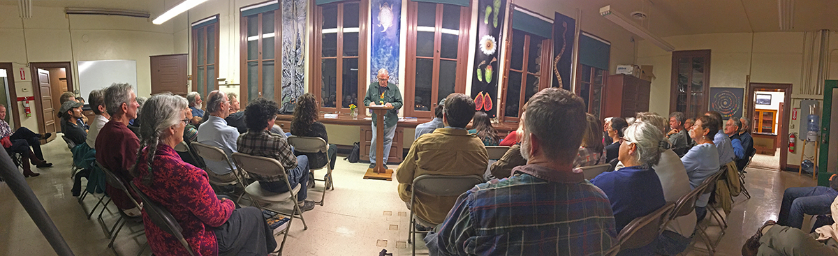 botanist richard felger reads at teh Tumamoc Hill Desert Lab