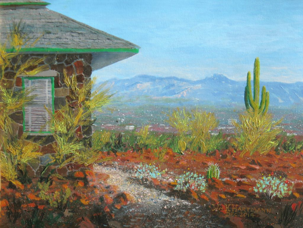 Acrylic painting of Tucson and the corner of the Tumamoc library, by William Hartmann.